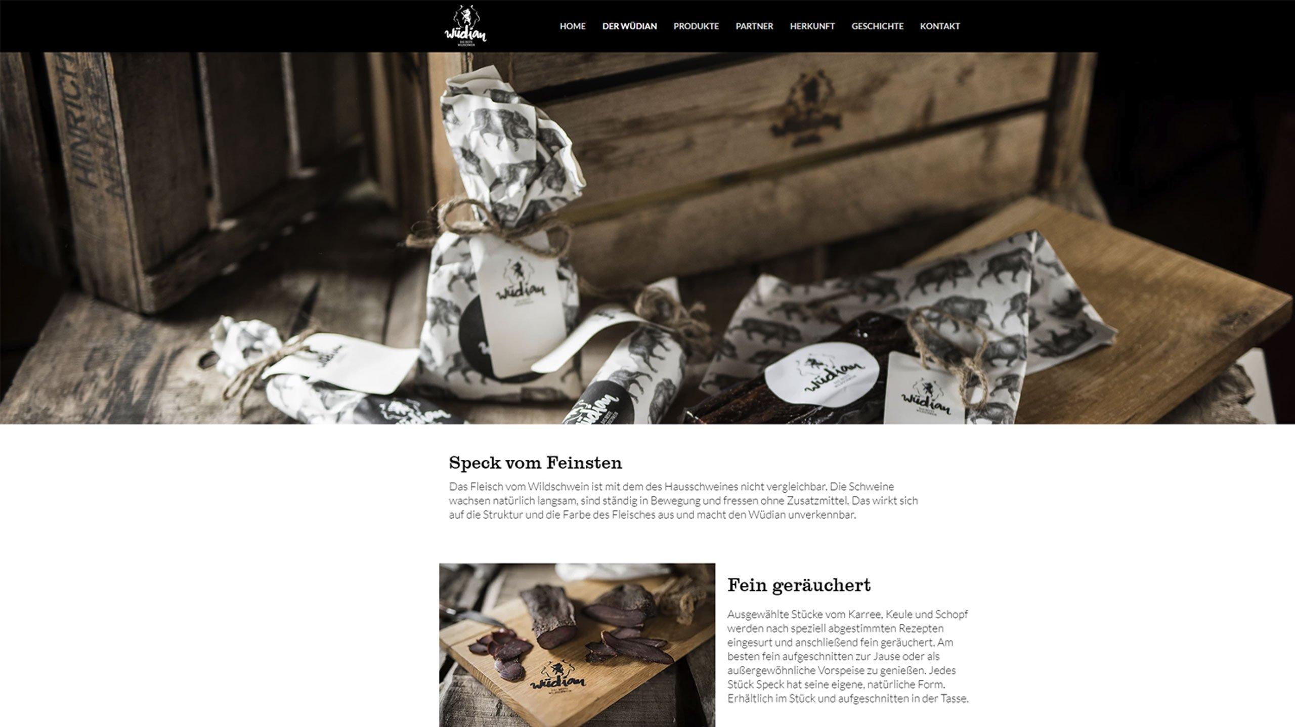 upart Referenz für wüdian Wildschweinspeck - Webseite