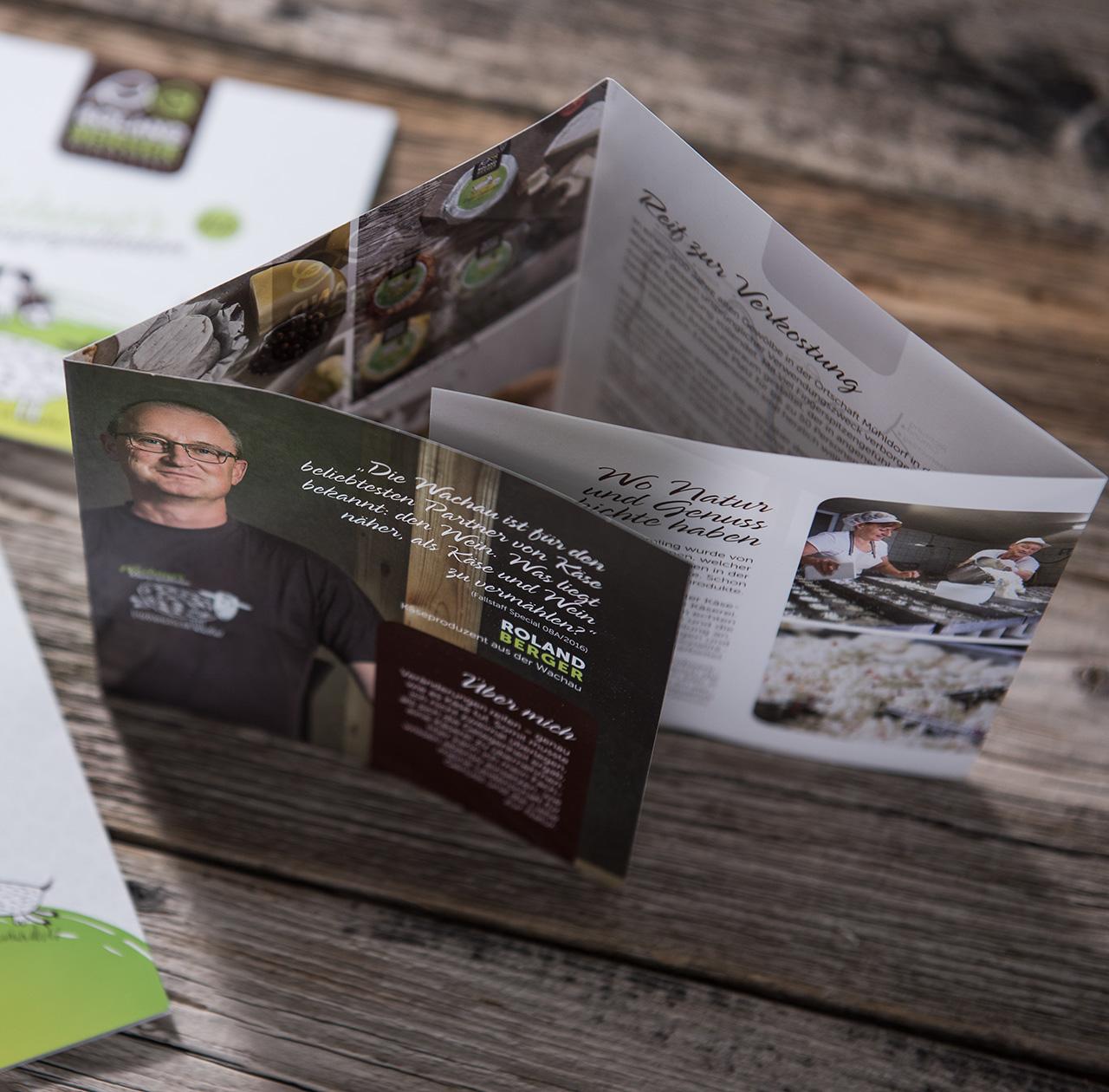 upart Referenz für Biokäserei Roland Berger aus der Wachau - Folder